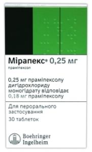Мирапекс инструкция по применению аналоги